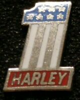 VINTAGE & RARE HARLEY-DAVIDSON USA FLAG COLORS SILVER AMF #1 SMALL PIN NEW