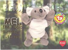 Ty Beanie Babies Bboc Card - Series 1 Birthday (Gold) - Mel the Koala - Nm/Mint