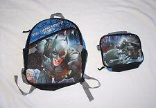 Batman The Dark Knight Boys Backpack Detachable Lunch Pail NWOT Blue Black Trim