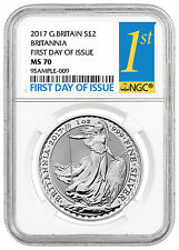 2017 G. Britain 2 Pound 1 oz Silver Britannia NGC MS70 First Day Issue SKU43894