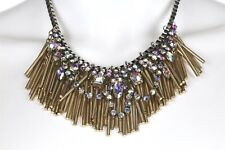Berry Jewelry Gold and Silver Toned Crystal Statement Necklace 135486
