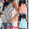 Women's Striped Vest Sleeveless Loose Cami Casual V-Neck Tank Top Blouse T-Shirt