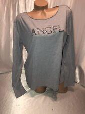 Victoria's Secret Pajama Shirt Sleep Sequin Bling Angel Grey Long Sleeve Nwt Lrg