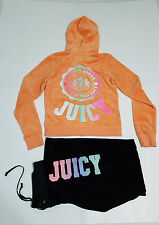 Juicy Couture Hoodie L Orange Zip Up Velour Sweatshirt Jacket Glitter Bling Logo