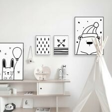 Kawaii Bear Rabbit Posters Nordic Kids Baby Room Decor Wall Art Canvas Paintings