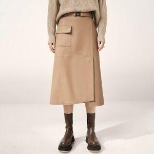 2021 Women Real Leather Skirts Lady Sheepskin Long Skirts A-line Dress 3TF8501