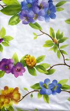 NEW PURPLE BLUE FLOWERS VINYL FLANNEL FLORAL TABLECLOTH OBLONG 52x90 SEATS 8