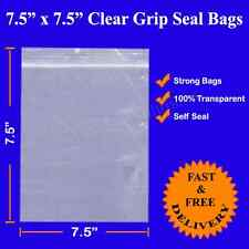 """1000 7.5"""" x 7.5"""" 190x190mm Grip Seal Resealable Clear Poly Plastic Bags CHEAPEST"""