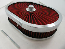 "12"" Oval Chrome Extreme Flow Washable 4 Brl Air Cleaner SBC BBC Ford Mopar V8"