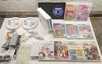 Nintendo Wii Console Mario Kart 2 Wheels GameCube Compatible 10 Games! Sonic!