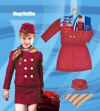 Kids Girls Air Hostess Flight Attendant Airlines Stewardess Halloween Costume