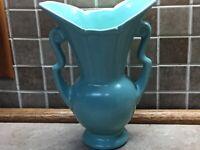 """Vintage McCoy Art Pottery 9"""" Green Vase w/Handles"""