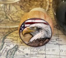 Eagle Wine Stopper, Handmade Eagle and American Flag Wood Cork Bottle Stopper