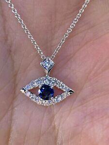1Ct Round Cut Blue sapphire Diamond Evil Eye Theme Pendant 14K White Gold Finish