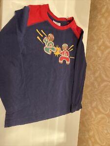 Hanna Andersson Ninja Gingerbread Boy's Size 6-7 (120) Blue Long Sleeve Shirt
