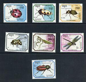 B279 Cambodge 1988 Insectes Coléoptères Mantis 7v. MNH