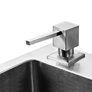 New Brushed Stainless Steel Head Kitchen Sink Liquid Soap Dispenser SATIN Nickel