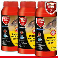 Protect Home 3x 500g Rodicum Ratten Appât Portions (50 Sac 10g) Poison