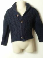 BOYS JASPER CONRAN AGE 12-18 MONTHS BLUE CHUNKY KNIT BUTTON UP CARDIGAN TOP