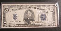 $5 1934-C SILVER CERTIFICATE BLUE SEALS & SERIALS WIDE-L-A BLOCK #3