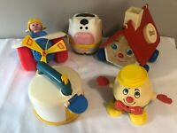 Vintage LOT Fisher Price Pull Toys Whistle Teapot Airplane Clown Egg and House +