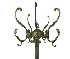 Standing Hall Tree Coat Hallway Rack Brass Hollywood regency  Mermaids Head HTF