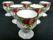 6 OLD COUNTRY ROSES FOOTED EGG CUPS, 1st QUALITY, VGC, ENGLAND, ROYAL ALBERT