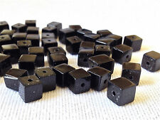 100 Jet black cube glass beads jewellery making  6mm  G 0113