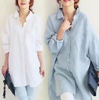 Fashion Womens Cotton Linen Tops Shirt OL Casual Long Sleeve Loose Blouse H327