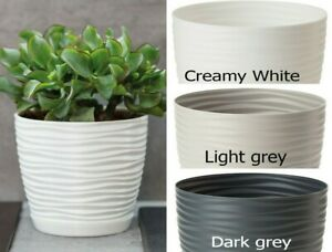 Plastic Plant Pot Cover Round 3D Effect Modern Indoor Outdoor Houseplant Holder