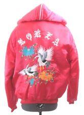 Vintage 1950's Korea birds Tour Red fur Hooded HanMeeSa Full Zip Coat  Women's S
