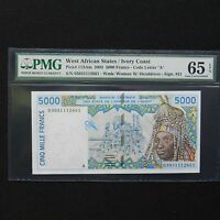 2003 West African States / Ivory Coast  5000 Francs, Pick # 113Am, PMG 65 EPQ