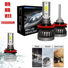 Pair H9/H8/H11 Car LED Headlight Kit 255000LM Beam Bulb 6500K HID Fog Lamp White