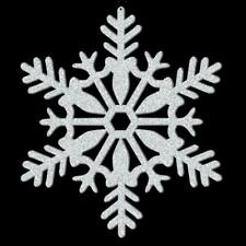 Silver Glitter Snowflake Christmas Decorations 27.9cm x 3