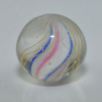 "Antique German Handmade Pee Wee Solid Core Swirl Marble 4 Color 15/32"" MAR 411"