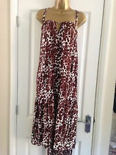 NEXT Strappy Brown Animal Print Beach Dress Assymetric Hem Size 10