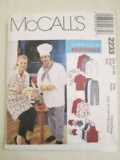 McCall's 2233 Uniform Essentials Pattern 34 36 Chef Hat Apron Jacket Neckerchief