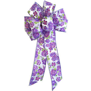 """Large 9-10"""" Purple & White Floral Wreath Bow Flower Easter Summer Spring"""