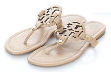 13-35 $228 Women's Sz 7.5 M Tory Burch Miller Leather Logo Flat Sandals