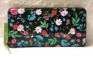 Kate Spade PWRU5780 Cameron Street JARDIN Lacey Zip Wallet BLACK MultiFloral NWT