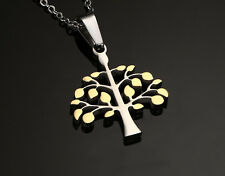 Charm Silver Gold Tone Tree Of Life Stainless Steel Pendant Mens Womens Necklace