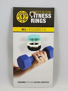 Gold's Gym Women's Silicone FITNESS RINGS M/L Sizes 7-9 Teal, Black, White
