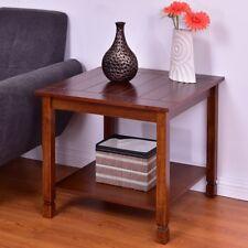 Bedroom Wood Square Frame Side End Table W/Storage Mount Walnut Shelf Furniture