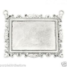 Antique Silver Rectangle Pendant Tray Connector/Photo Setting/Bezel 67mm, 1 Pc