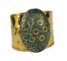Bracelet Ethnic Gypsy Boho Bohemian Malachite Chips Gemstone Brass Cuff Bangles