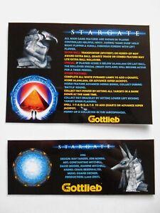 'STARGATE' Gottlieb 1995 Custom Instruction/Apron Cards (New)