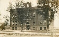 Welcome Minnesota~High School~Bell? Arch on Roof~Real Photo Postcard
