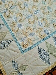 Antique Quilt - Hand Pierced - Soft Yellows and Blues - Mint and Rare!