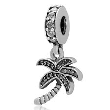 NEW 925 Sterling Silver European Bracelet Charm Crystal Bead Palm Tree Tropical