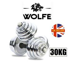 WOLFE Fitness 30KG Cast Iron Adjustable Dumbbell Set Gym Weights Training